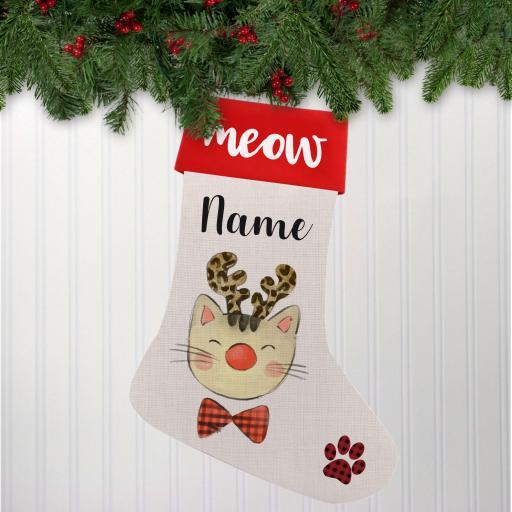 Reindeer Cat Linen Personalised Christmas Stocking