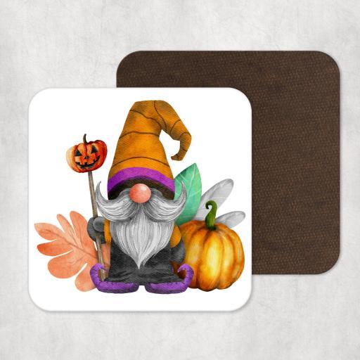 Gnome Pumpkin Halloween Wooden Coaster