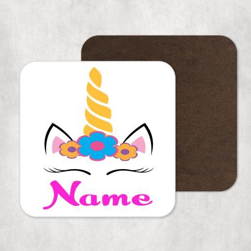 Unicorn Personalised Wooden Coaster