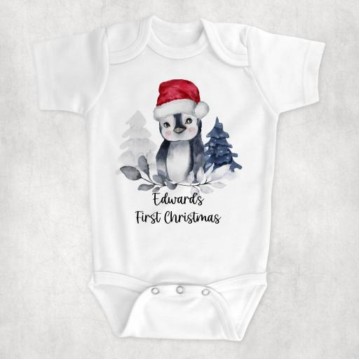 Personalised 1st Christmas Penguin Bodysuit