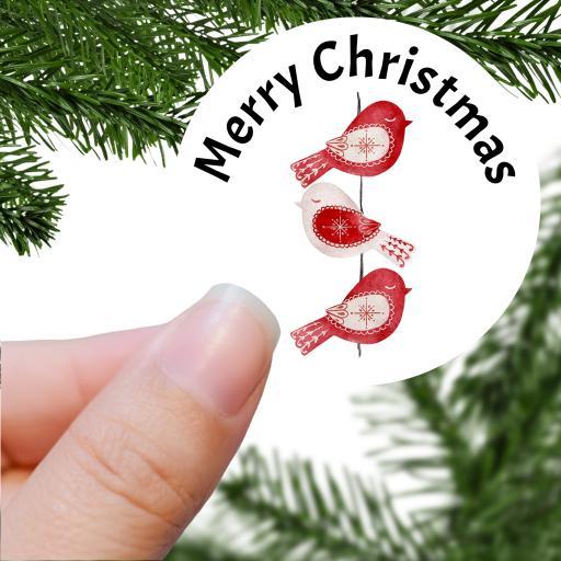Merry Christmas Red Bird Printed Sticker