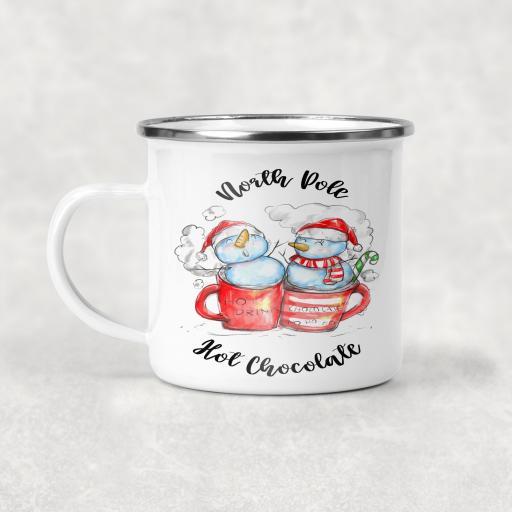 North Pole Hot Chocolate Enamel Mug